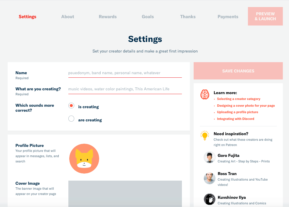 Fill in The Details of Your Patreon Page