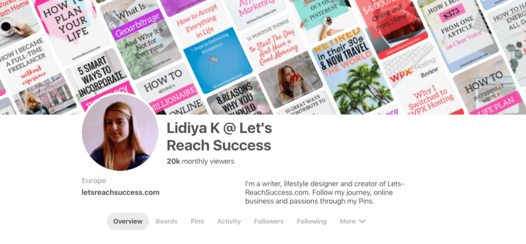 pinterest profile letsreachsuccess 20000 monthly views