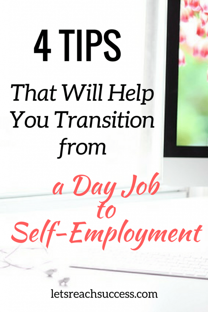 Making a transition from a day job to self-employment is stressful and self-employment in itself is a high-risk venture. Here are some tips on planning, setting up a business well before you leave the day job, time management applications, and money management.