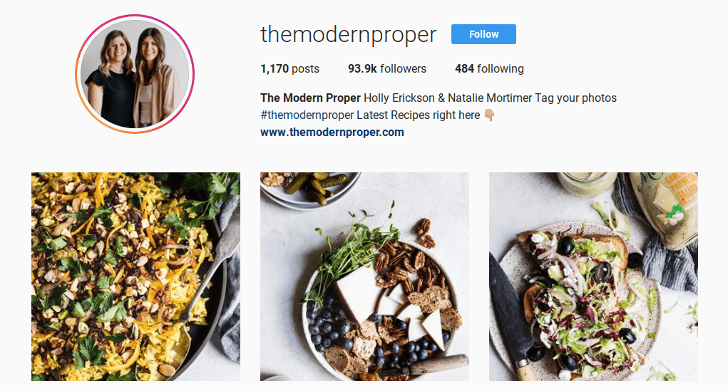 "the Instagram page of one of the top ""foodie"" influencers, The Modern Proper:"