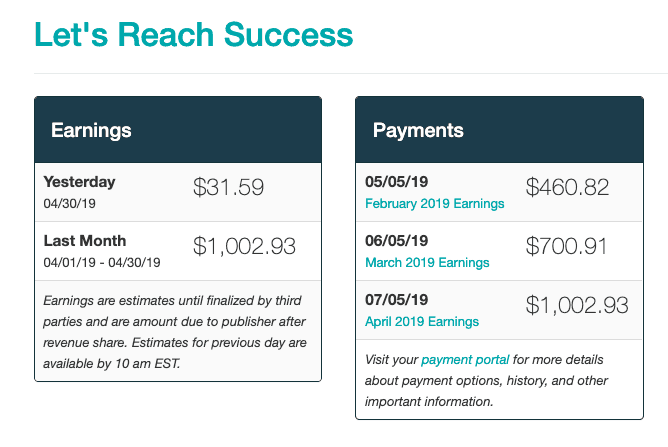 make money blogging mediavine ads $1000 a month