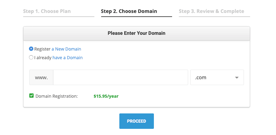 domain registration with siteground