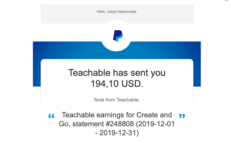 income from teachable blog income report february 2020