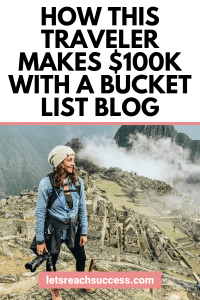 Want to start a bucket list blog? Check out the story of Annette who did it and now earns over $10K/month as a bucket list blogger: #bucketlistblog #bucketlistblogger #startablog #blogtips #makemoneyblogging #bloggingformoney #blognicheideas #blognichesthatmakemoney