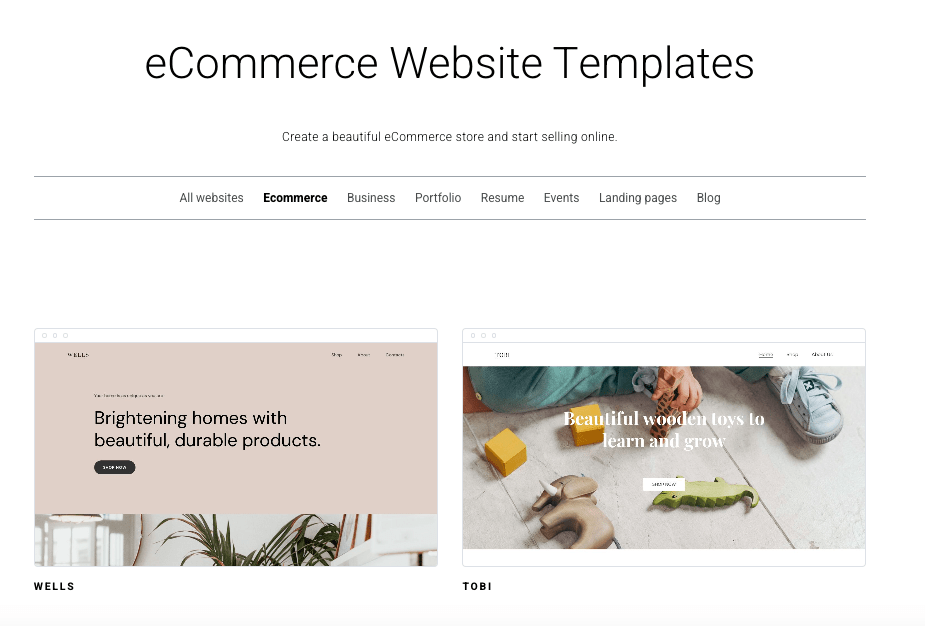zyro choose your ecommerce site template