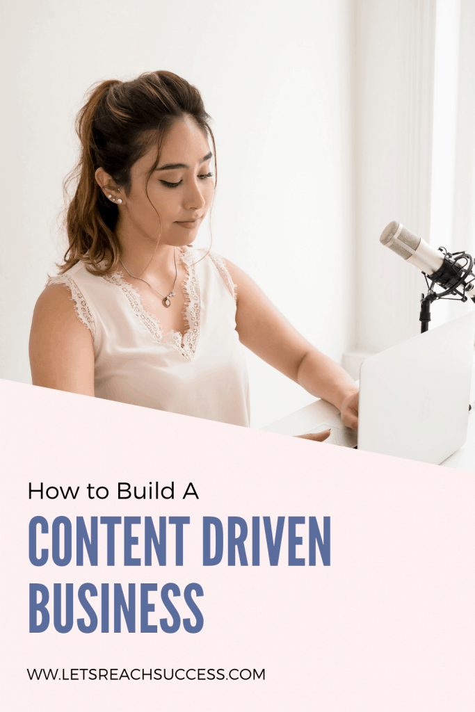 Woman entrepreneur working on her computer with a mic. Caption: How to build a content driven business.