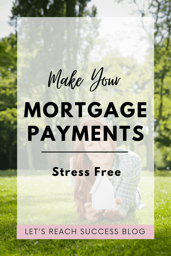 Woman outside holding a small model of a house, smiling. Caption: Make your mortgage payments stress free