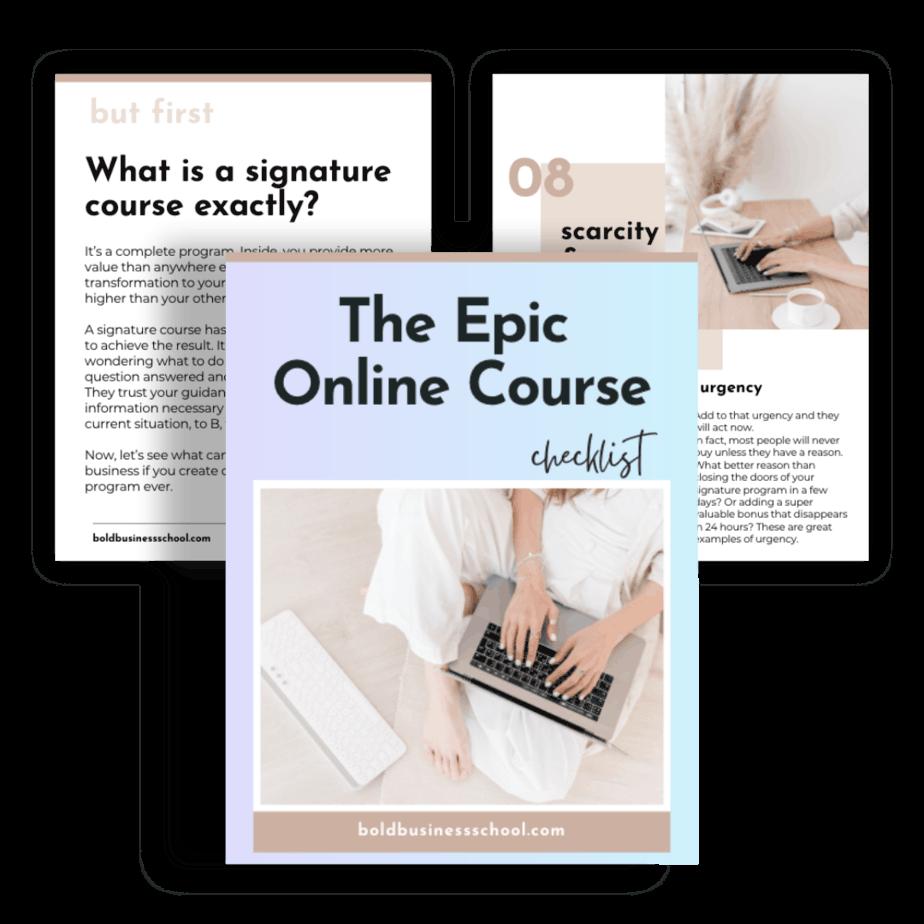free epic online course checklist