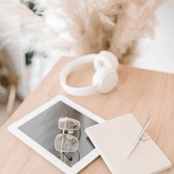 office desk tablet headphones